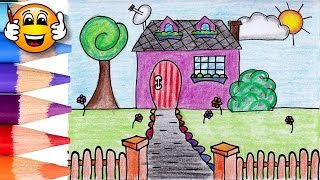 Coloring Pages For Kids House with Gate   Coloring for Kids   Bibabibo
