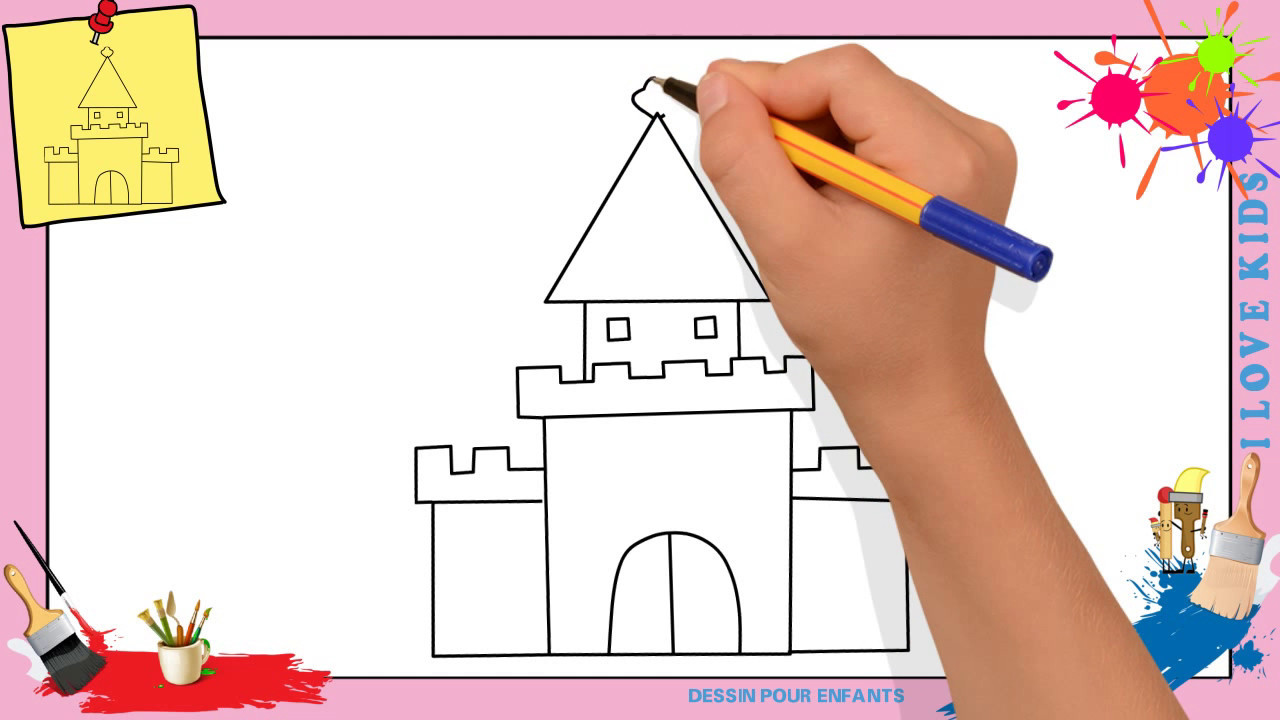 Dessin ch teau mettre jour comment dessiner un ch teau facilement pour enfants youtube - Comment dessiner un enfant ...