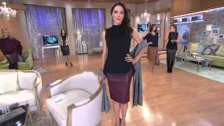 G.I.L.I. Faux Leather Pencil Skirt with Lisa Robertson