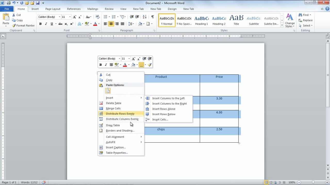 How to create tables from scratch in microsoft word 2010 for Table design ms word