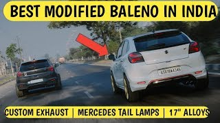 Baleno Best Modified In India   Baleno Custom Exhaust   17 Inch Alloy   Mercedes Tail Lamps Video
