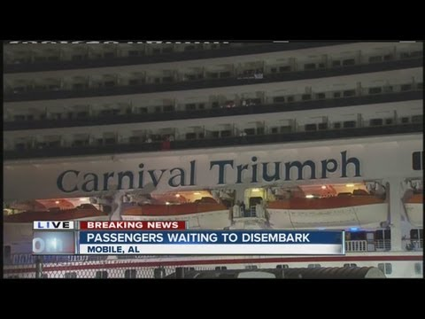 Crippled cruise ship arrives at Mobile, Alabama port terminal