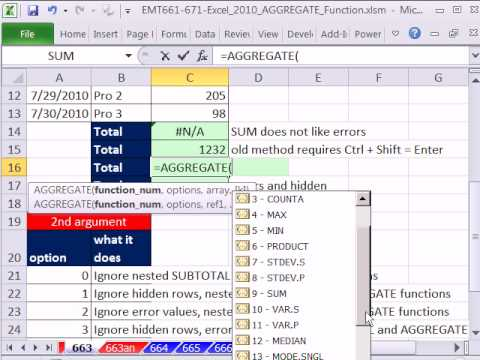 Excel 2010 Magic Trick 663: AGGREGATE function Ignores Error Values for Calculations