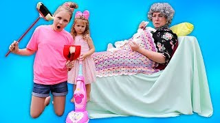 Ruby & Bonnie helps Greedy Granny! Kids Pretend Play with Cleaning Toys