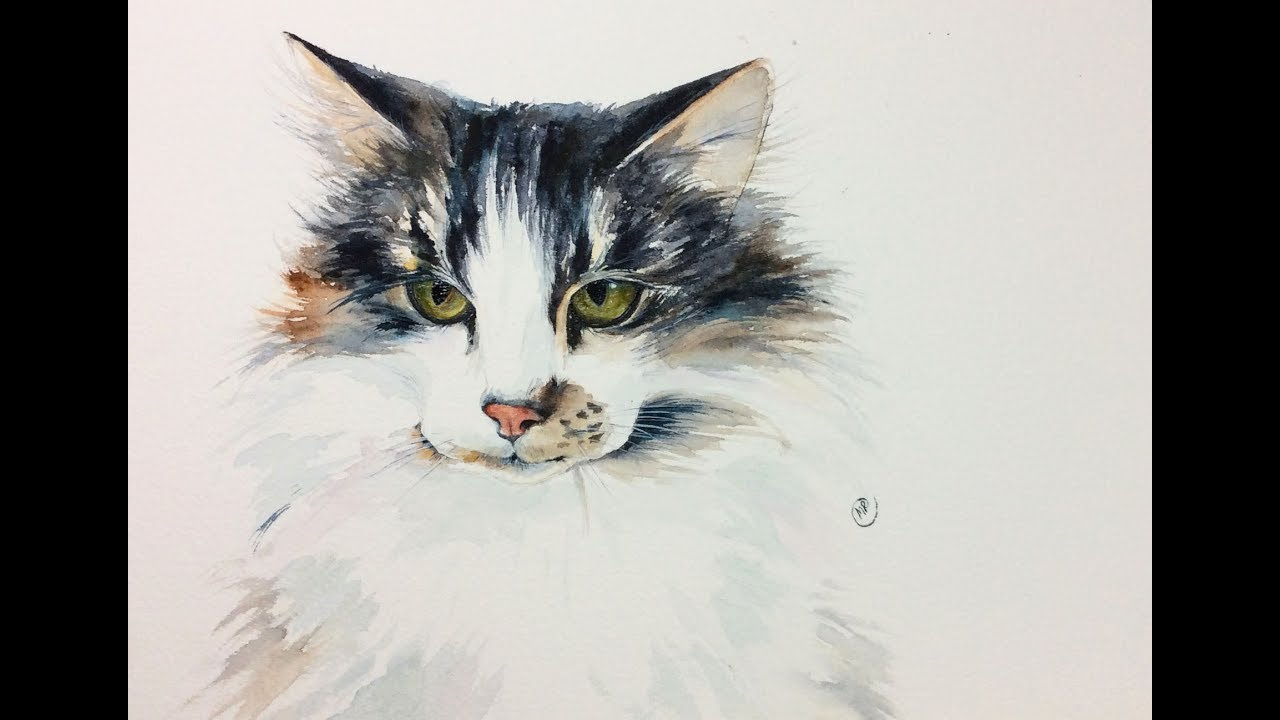 Watercolor cat painting tutorial youtube for Cat paintings on canvas