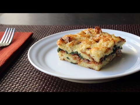 Bacon Cheddar & Spinach Strata - Bacon Cheddar & Spinach Breakfast Casserole