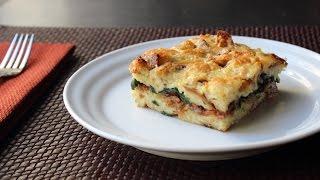 Bacon Cheddar & Spinach Strata - Bacon Cheddar & Spinach Breakfast Casserole