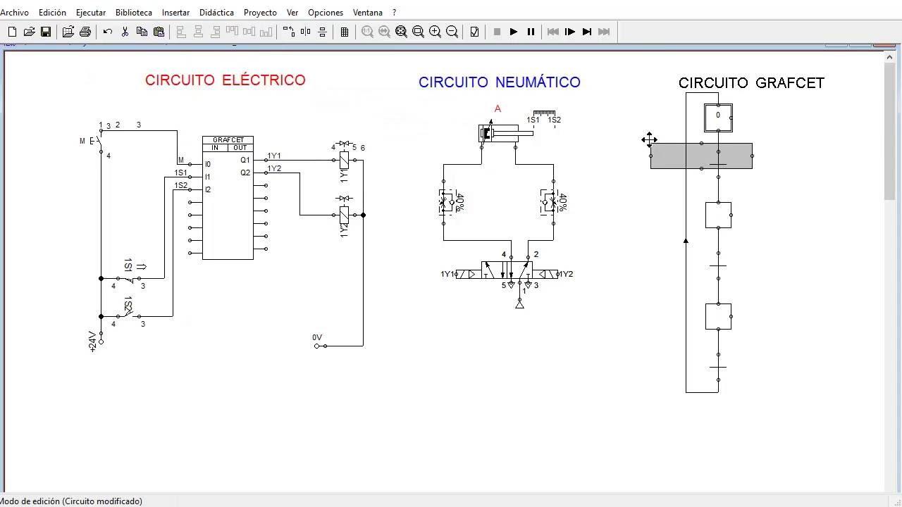 Circuito Neumatico Basico : Electroneumática circuito grafcet secuencia a