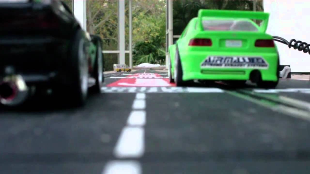 Slot car Drag racing for fun! - YouTube