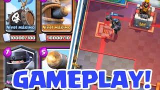 Gameplay das Novas Cartas /Mega Cavaleiro,Balão de ossos e carrinho de canhão