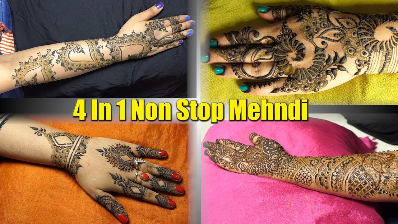Hand Mehndi Tips : 4 in 1 front and back full hand mehndi non stop video