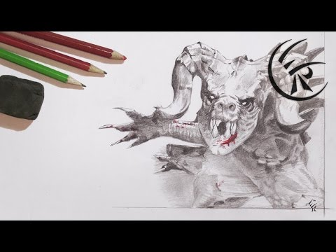 "Drawing ""Deathclaw"" ►► Timelapse"