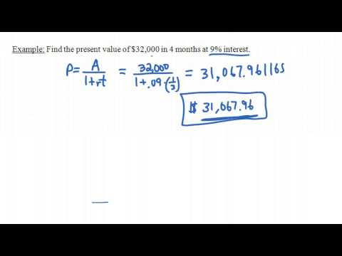 Present Value for Simple Interest