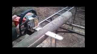 пилорама шинна - порізка на дошку 1 ( homemade tire sawmill)