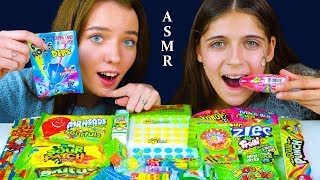 ASMR TRYING SUPER SOUR EXTREME CANDY (Gummy Candy, Buttons, Sour Patch, Juicy Drop) 먹방
