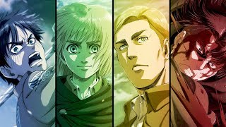 "Attack on titan season 3 part 2 op full song『shoukei to shikabane no michi』by linked horizon tv anime ""shingeki kyojin"" opening 5 theme (""the path of..."