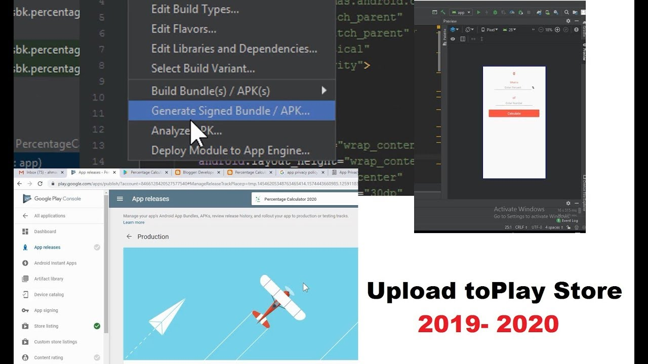 How To Generate Signed Apk In Android Studio 3 4 1 For Upload Google Play Store With Detail 2019 20 Youtube
