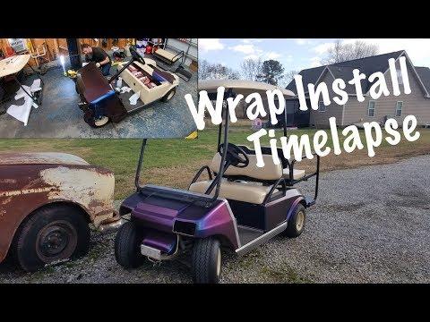 Golf Cart Custom Vinyl Wrap Install.