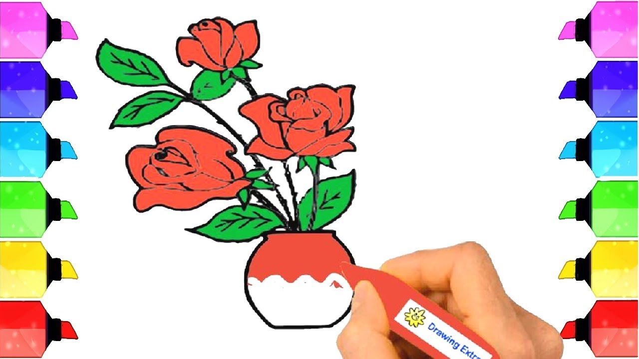 Flowers Drawing and Coloring | How to Draw Flowerpot for Kids with ...