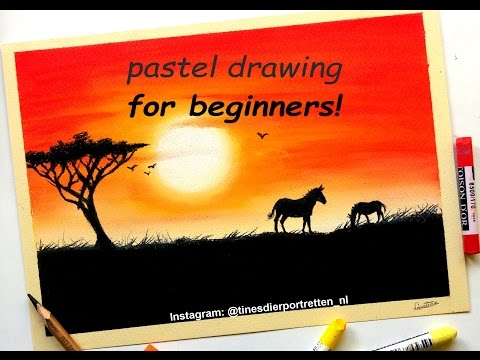 Pastel drawing tutorial for beginners: Simple sunset | Leont
