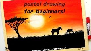 Pastel drawing tutorial for beginners: Simple sunset | Leontine van vliet