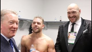 'GET THAT CHEQUE BOOK OUT' - TYSON FURY TELLS FRANK WARREN WITH BILLY JOE SAUNDERS AFTER LEMIEUX WIN