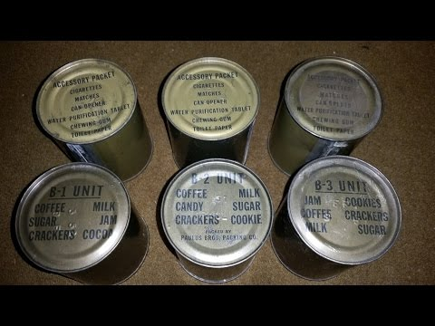 1951 Korean War Era B1 & B2 Unit Food Ration Can Review Oldest Cookie Eaten & Coffee Ever Drank Army
