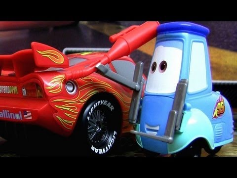cars 2 gas up and go lightning mcqueen with guido pixar