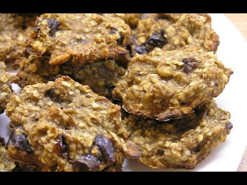 Бананово-овсяное печенье / Homemade Banana Oatmeal Cookies  English subtitles без регистрации и смс