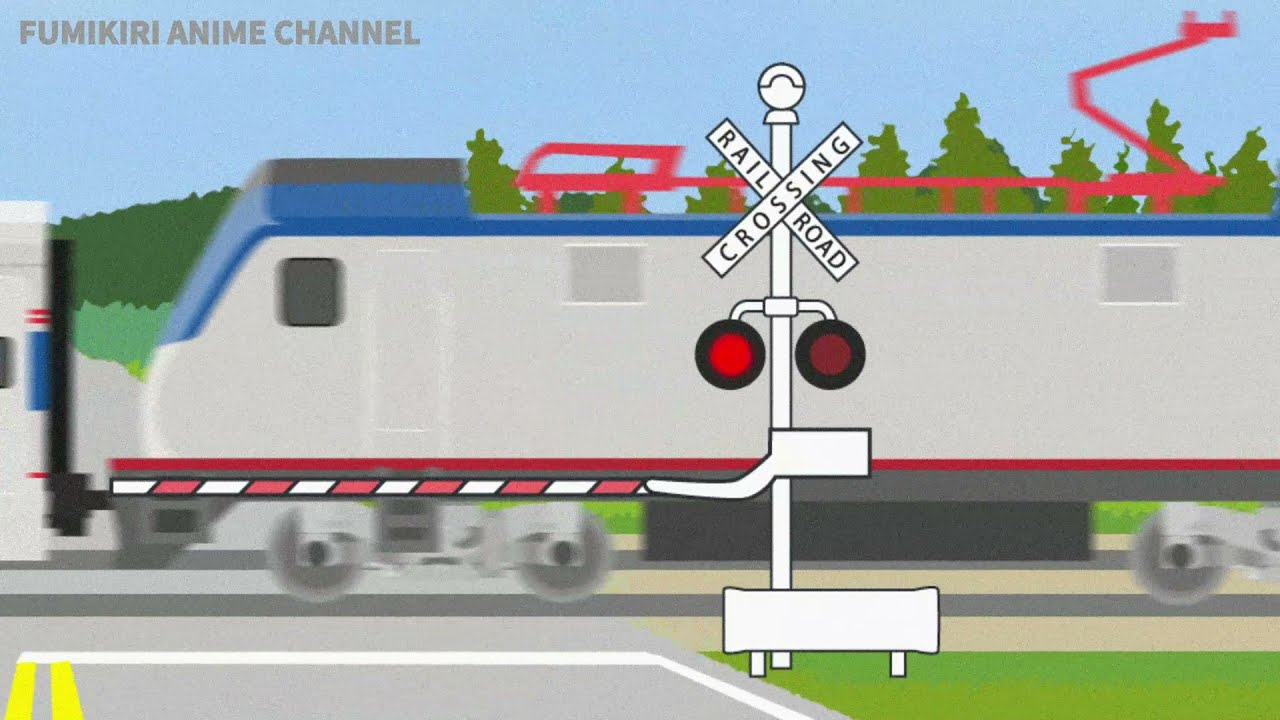 Amtrak ACS-64 and railroad crossing animation - 踏切とアメリカの電車