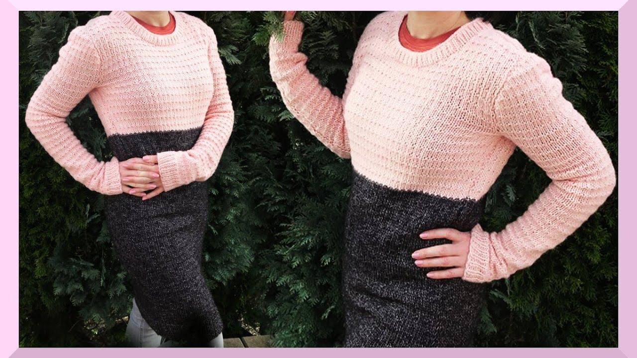 Pullover stricken einfach für Anfänger Anleitung Frühling - YouTube