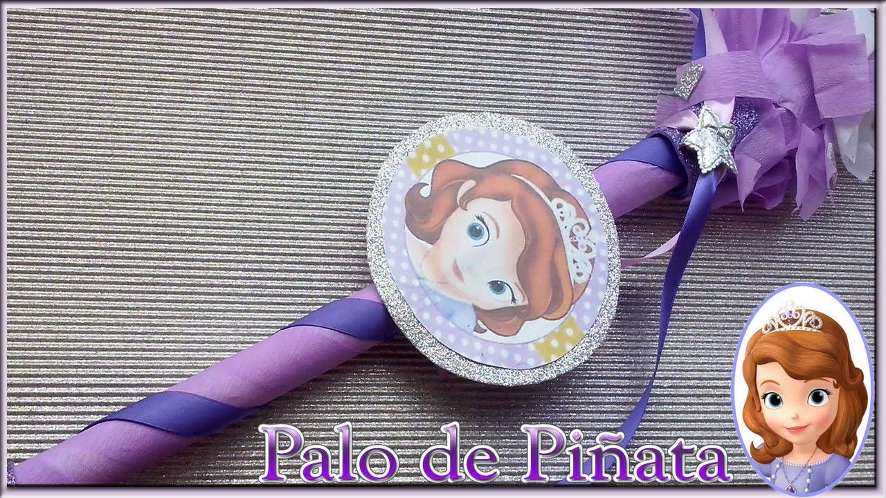4cbdf2fc8 DIY Palo para piñata de la princesa sofia