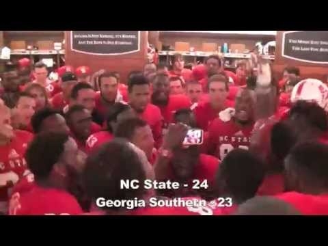 Wolfpack Football Locker Room Celebration – Victory over Georgia Southern
