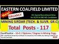 Eastern Coalfields Ltd Recruitment 2018 for Mining Sirdar : 117 Posts
