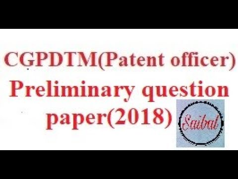 CGPDTM (patent officer) Preliminary question paper only(2018