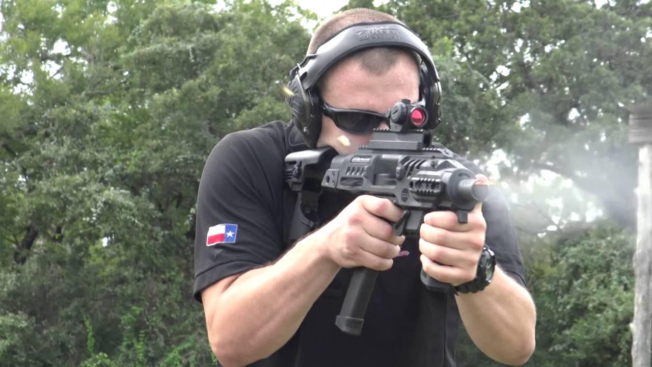 Glock 18 + Roni Stock Full Auto Slow Motion | HeliBacon Texas Helicopter  Hog Hunting