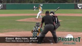 Cody Bolton Prospect Video, RHP, Tracy High School Class of 2017