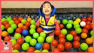 초대형 워터파크 키즈카페 볼풀 놀이 ♡ 꾸러기 유니 미끄럼틀 타다 웅진플레이도시 수영장 물놀이 거품놀이 kids waterpark play | 말이야와아이들 MariAndKids