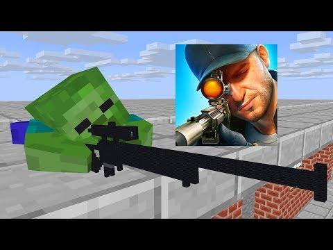 Monster School : SNIPER 3D GUN SHOOTER CHALLENGE - Minecraft Animation