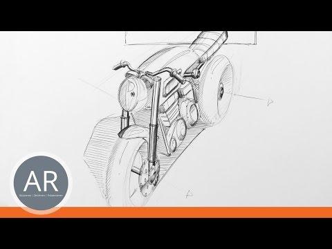 Autos und Motorräder zeichnen lernen. Schnellskizzen. Transportationdesign Mappe.