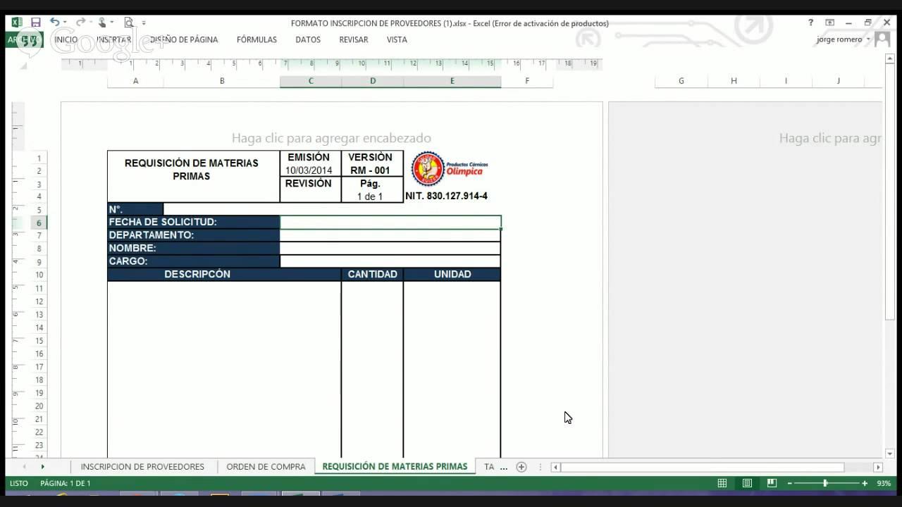 FORMATO_DE REQUISICIÓN DE MATERIAS PRIMAS - YouTube
