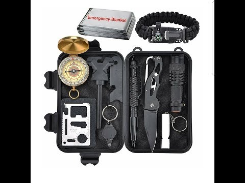 Emergency Survival Kit 11 in 1 - Outdoor survival gear tool with survival bracelet.