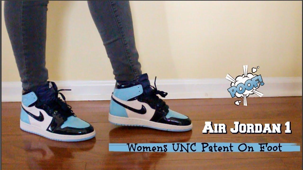 Air Jordan Womens UNC 1s on foot - YouTube