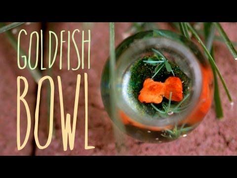 Goldfish Bowl - Miniature Aquarium - Polymer Clay Fish - Jewelry Charm Tutorial