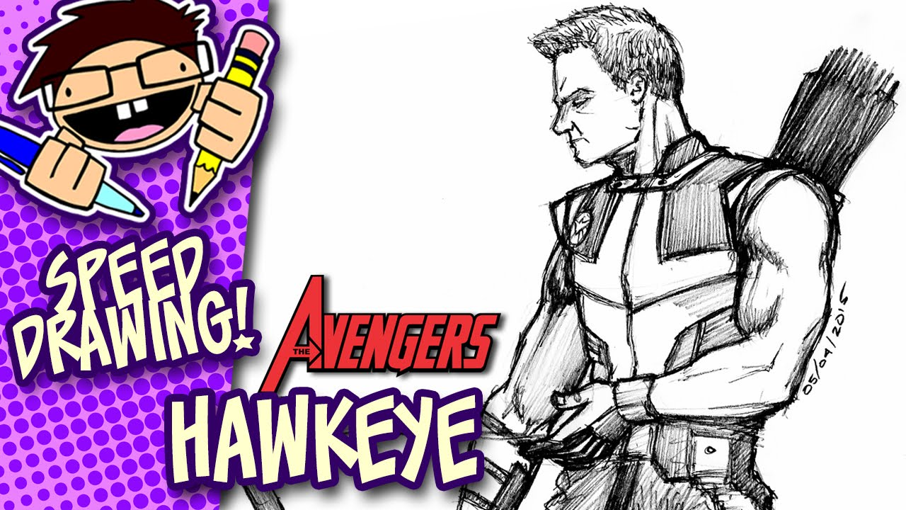 Learn How To Draw Falcon From Captain America Civil War: Speed Drawing HAWKEYE (AVENGERS)
