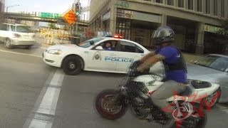 Repeat youtube video Bike Vs Police CHASE Motorcycle Stunts RUNNING From The Cops Riding WHEELIES Cop CHASES