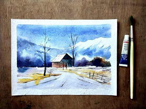 Watercolor landscape painting – speed painting