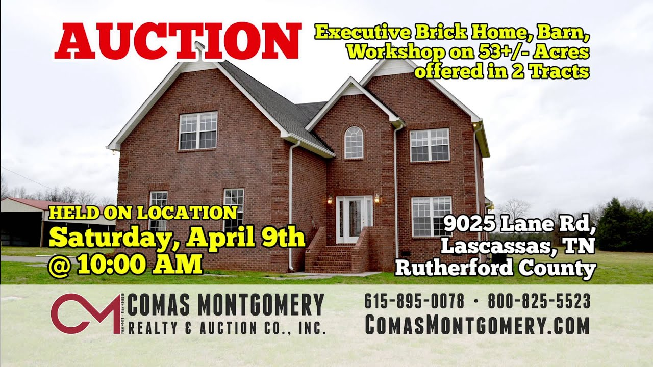 Tennessee rutherford county lascassas - Upcoming Auctions In April 2016 From Comas Montgomery Realty And Auction Co