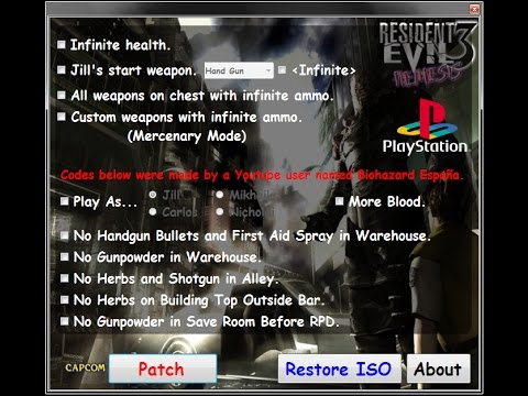 PSX Resident Evil 3 Nemesis Hacks (old see description)