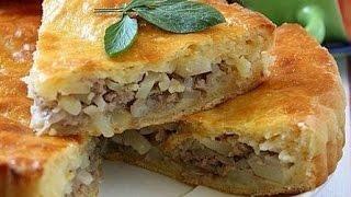 пирог с фаршем картофелем и сыром //просто и вкусно